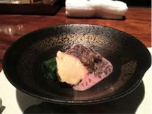 鯛の煮凝りと生海苔の豆乳ソース